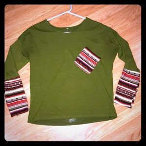 Cute Vintage Green Boho Top